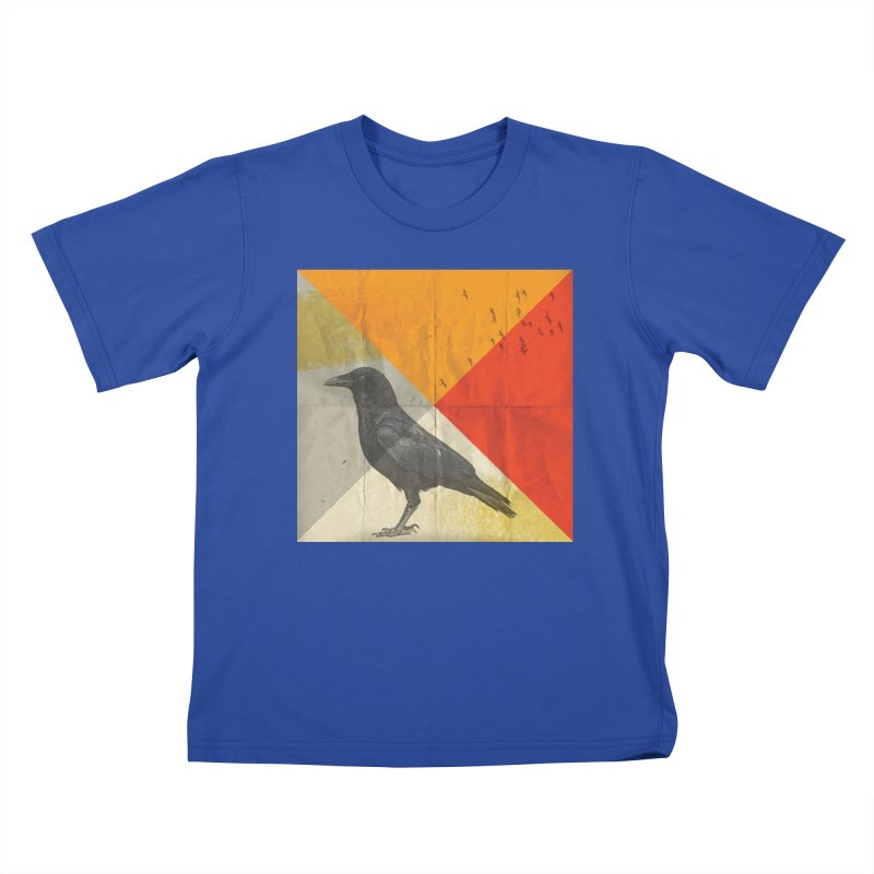 Angle of a Raven Kids T-Shirt by vinzzep's Artist Shop