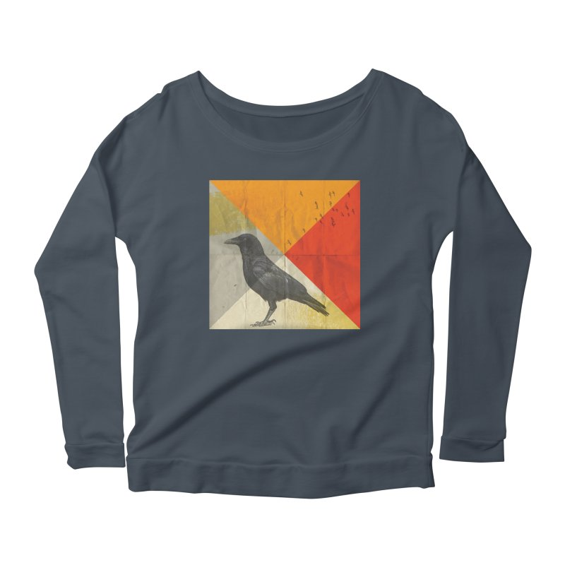 Angle of a Raven Women's Longsleeve Scoopneck  by vinzzep's Artist Shop