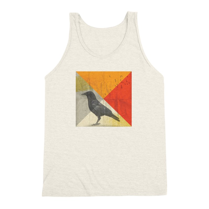 Angle of a Raven Men's Triblend Tank by vinzzep's Artist Shop