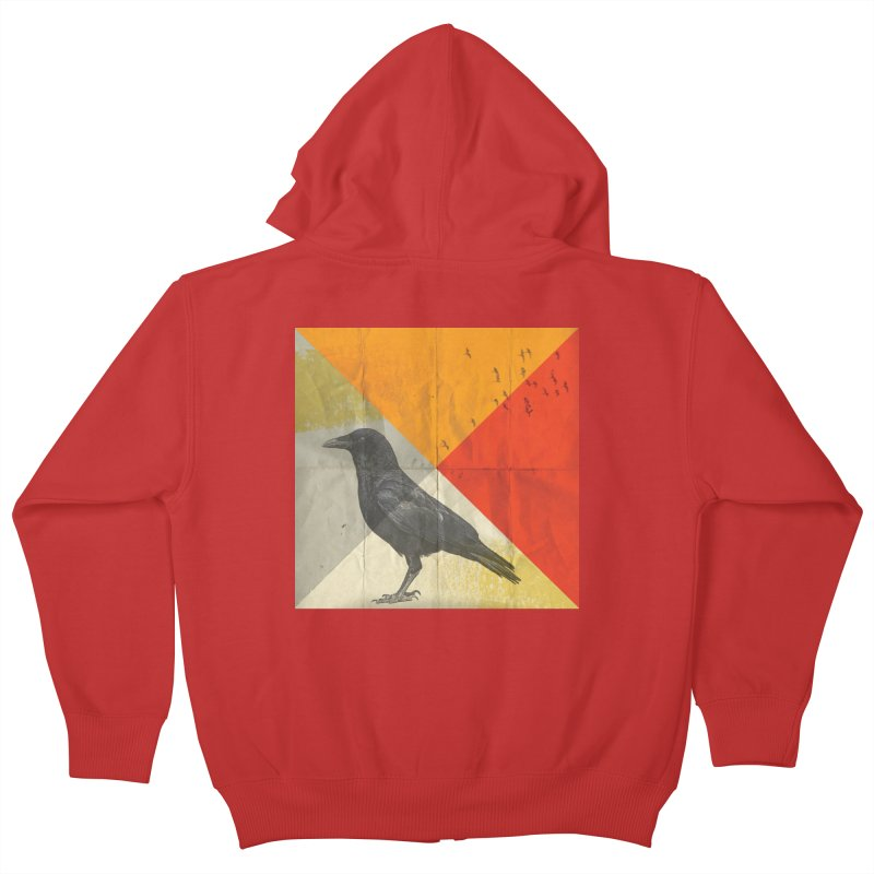 Angle of a Raven Kids Zip-Up Hoody by vinzzep's Artist Shop