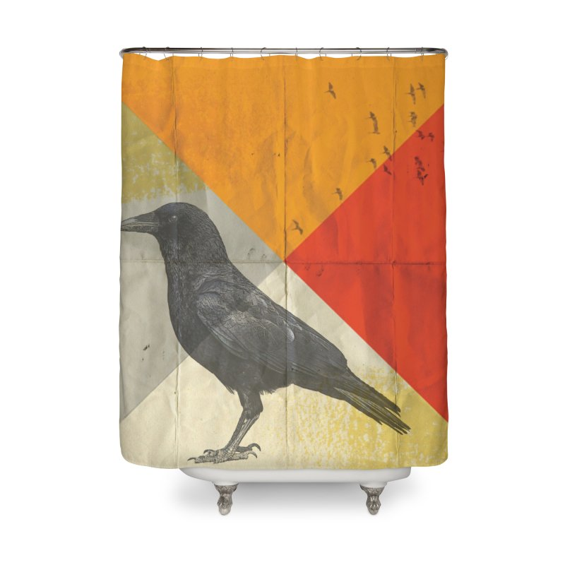 Angle of a Raven Home Shower Curtain by vinzzep's Artist Shop