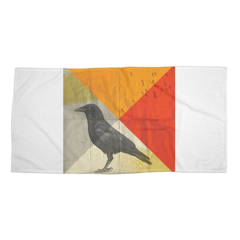 Angle of a Raven Accessories Beach Towel by vinzzep's Artist Shop