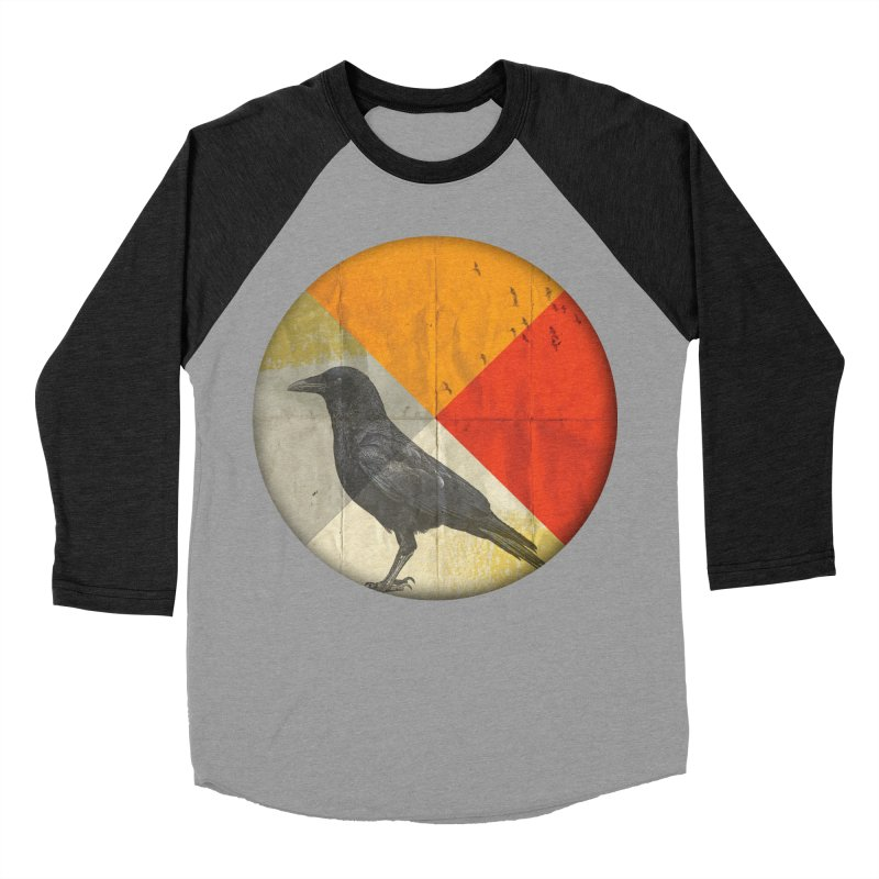 Angle of a Raven Men's Baseball Triblend T-Shirt by vinzzep's Artist Shop