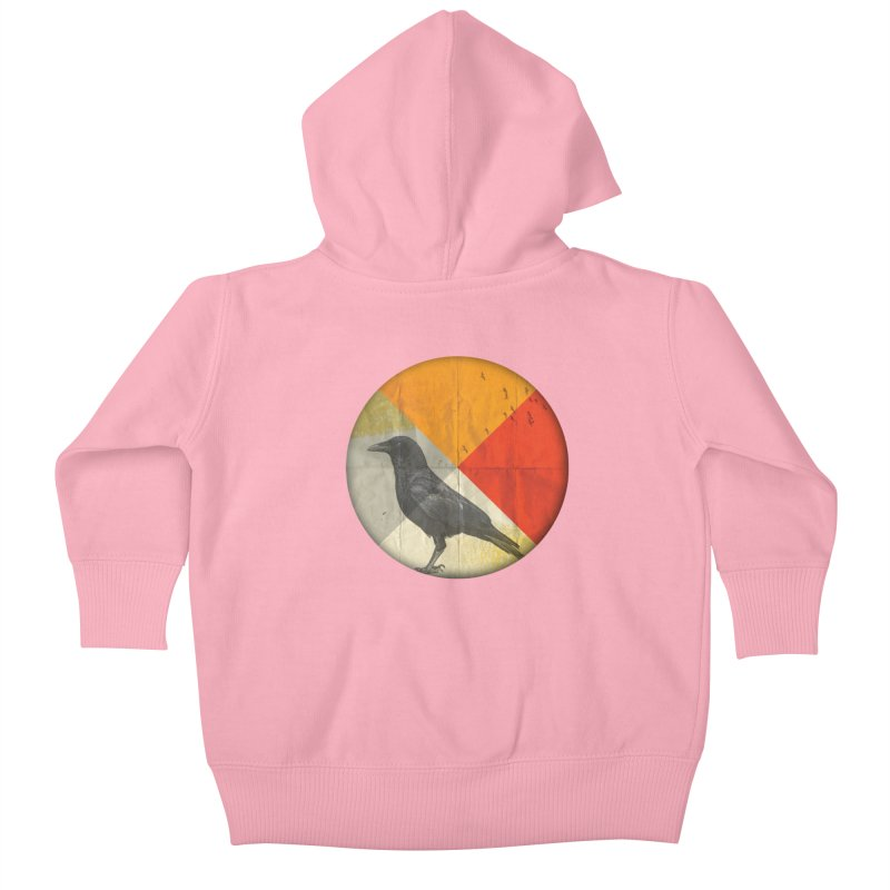 Angle of a Raven Kids Baby Zip-Up Hoody by vinzzep's Artist Shop