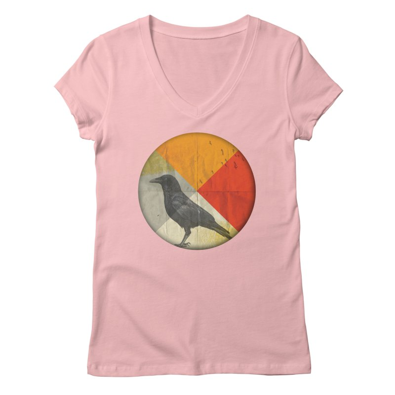 Angle of a Raven Women's V-Neck by vinzzep's Artist Shop