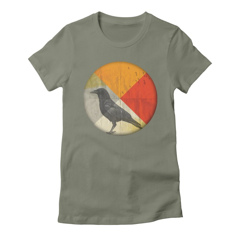 Angle of a Raven Women's Fitted T-Shirt by vinzzep's Artist Shop