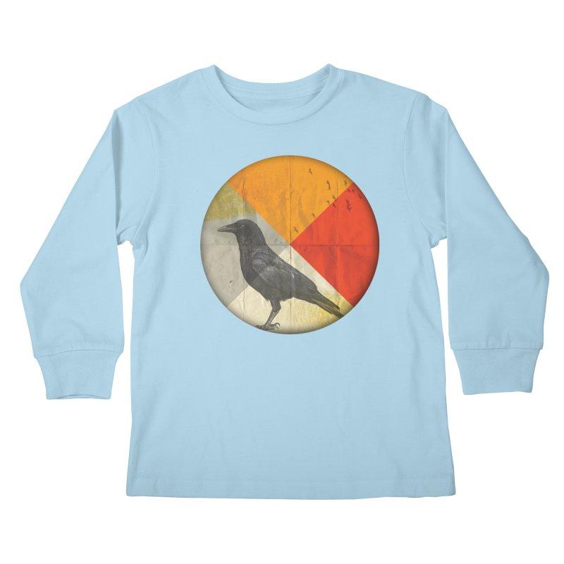 Angle of a Raven Kids Longsleeve T-Shirt by vinzzep's Artist Shop