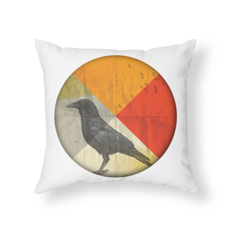 Angle of a Raven Home Throw Pillow by vinzzep's Artist Shop