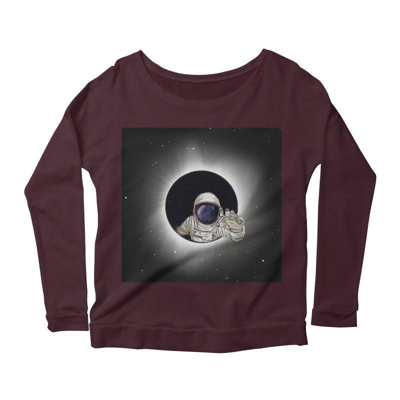 Astronaut  Eclipse Women's Longsleeve Scoopneck  by Vin Zzep's Artist Shop