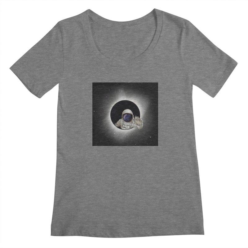 Astronaut  Eclipse Women's Scoopneck by Vin Zzep's Artist Shop