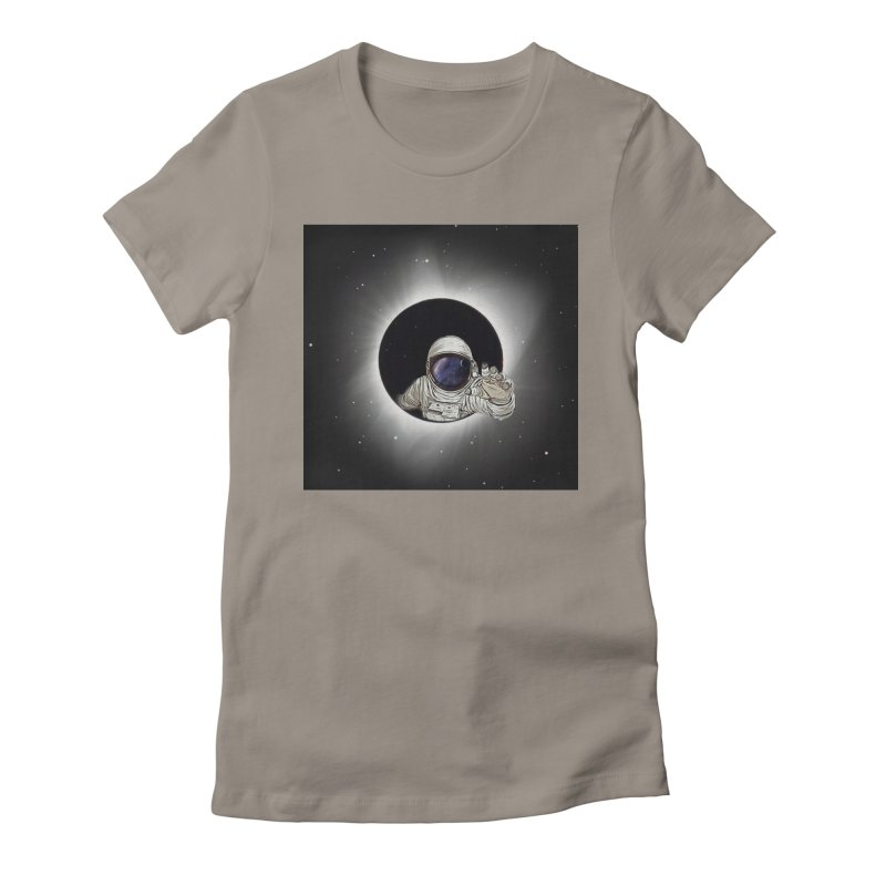 Astronaut  Eclipse Women's Fitted T-Shirt by Vin Zzep's Artist Shop
