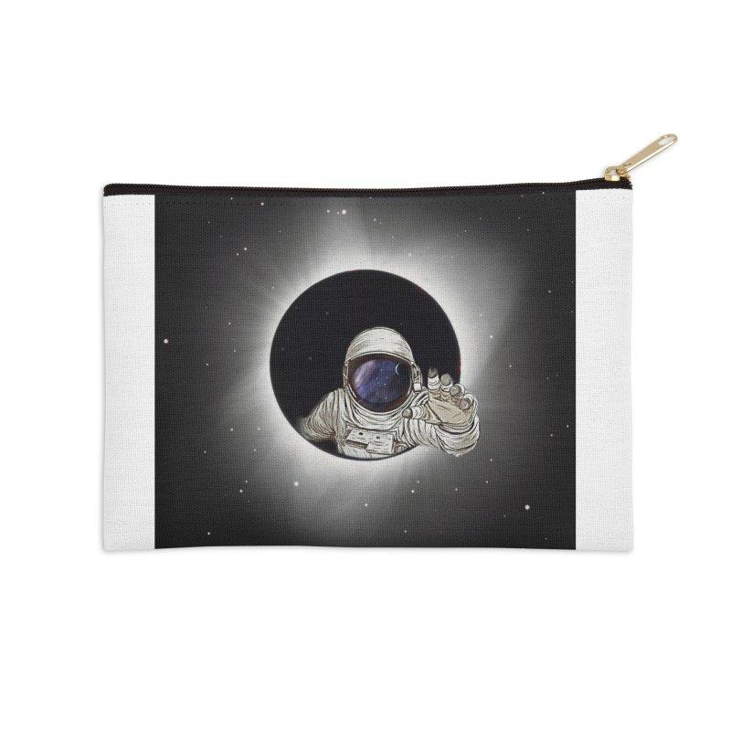 Astronaut  Eclipse Accessories Zip Pouch by Vin Zzep's Artist Shop