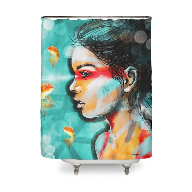 Goldfish Dreaming Home Shower Curtain by Vin Zzep's Artist Shop