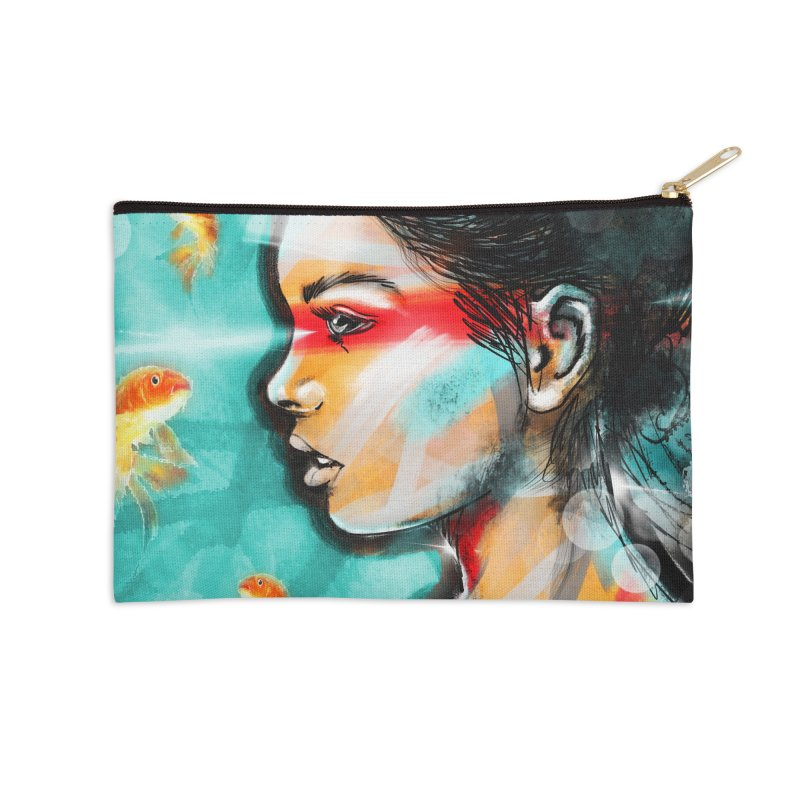 Goldfish Dreaming Accessories Zip Pouch by Vin Zzep's Artist Shop