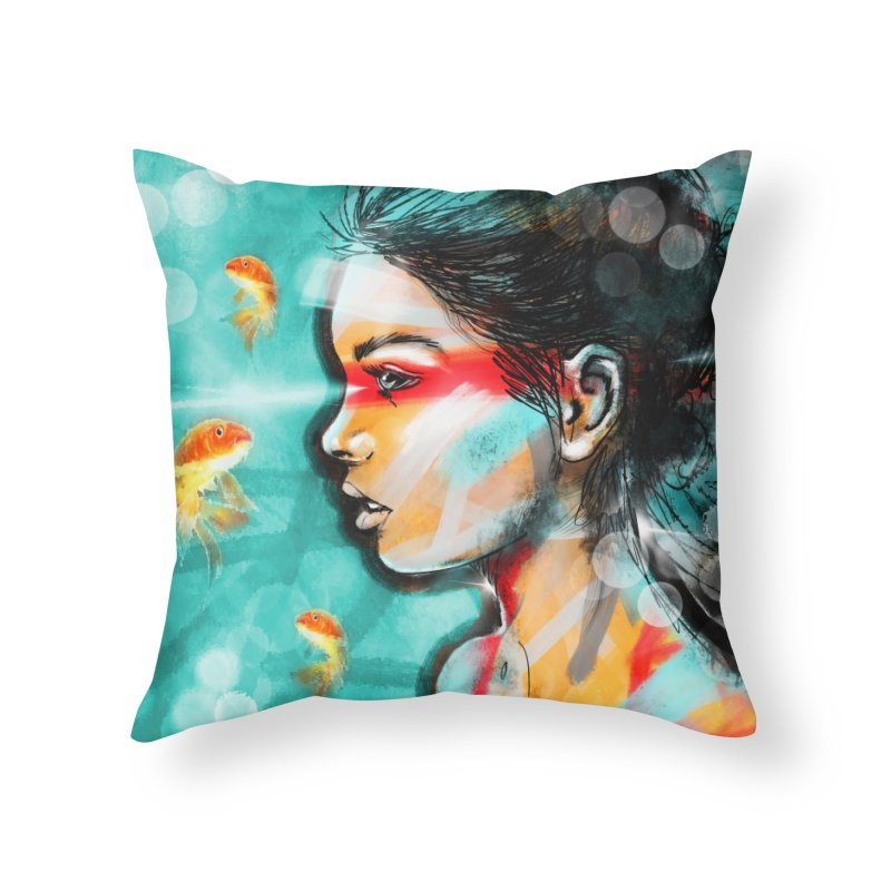 Goldfish Dreaming Home Throw Pillow by Vin Zzep's Artist Shop