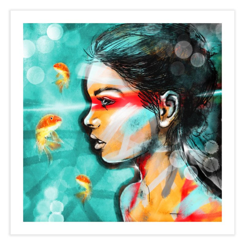 Goldfish Dreaming Home Fine Art Print by Vin Zzep's Artist Shop