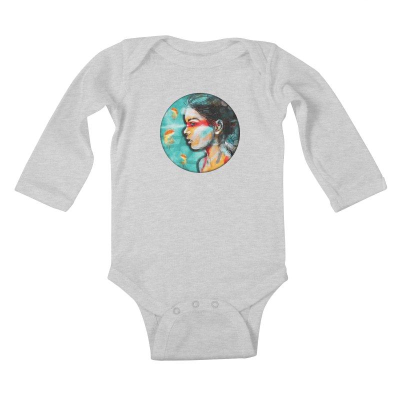 Goldfish Dreaming Kids Baby Longsleeve Bodysuit by Vin Zzep's Artist Shop