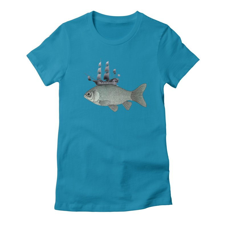 Water line Women's Fitted T-Shirt by Vin Zzep's Artist Shop