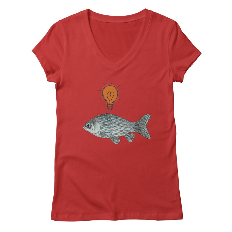 Ideas and Goldfish Women's V-Neck by Vin Zzep's Artist Shop