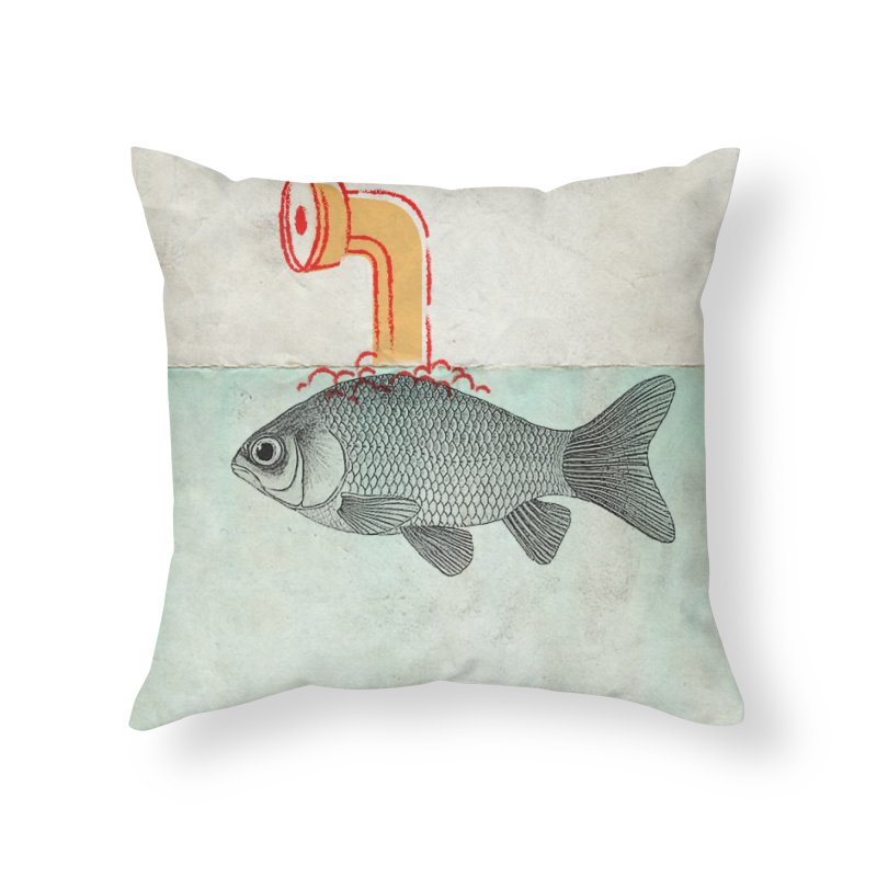 Periscope Goldfish Home Throw Pillow by Vin Zzep's Artist Shop