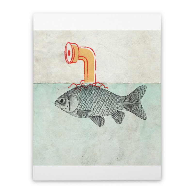 Periscope Goldfish Home Stretched Canvas by Vin Zzep's Artist Shop