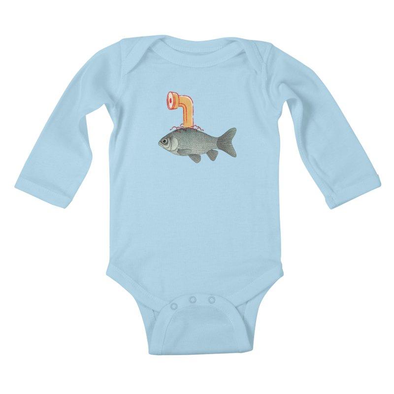 Periscope Goldfish Kids Baby Longsleeve Bodysuit by Vin Zzep's Artist Shop