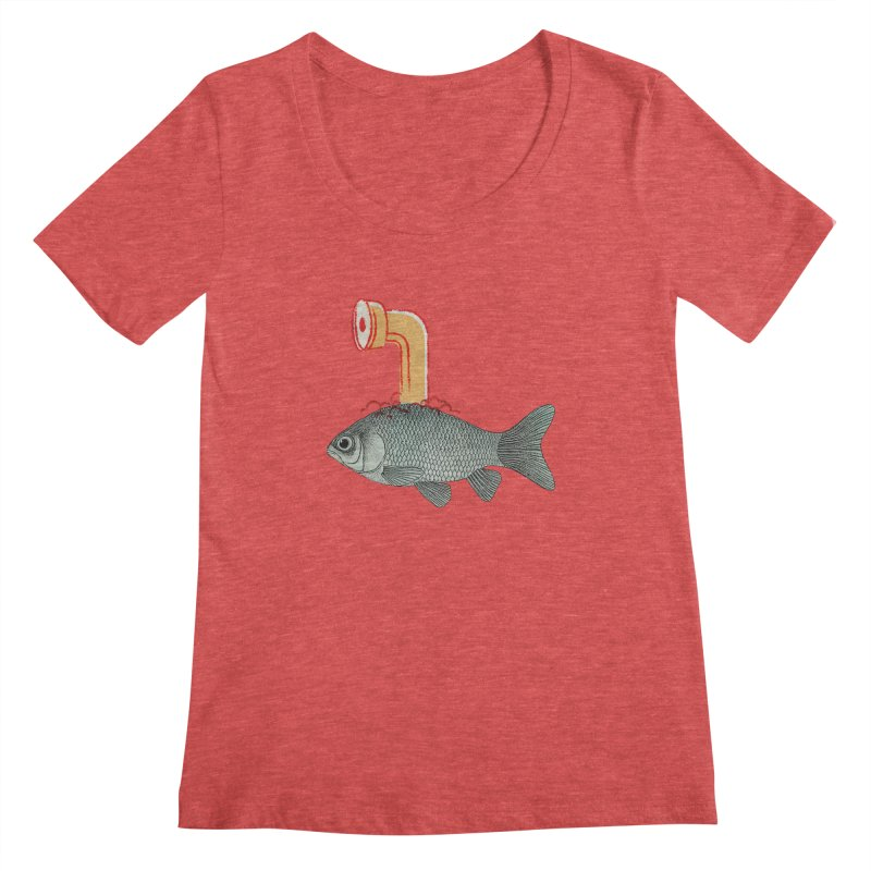 Periscope Goldfish Women's Scoopneck by Vin Zzep's Artist Shop