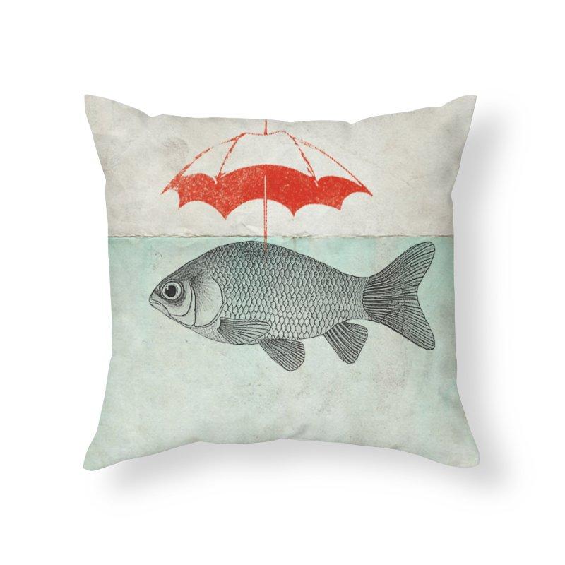 Umbrella Goldfish Home Throw Pillow by Vin Zzep's Artist Shop
