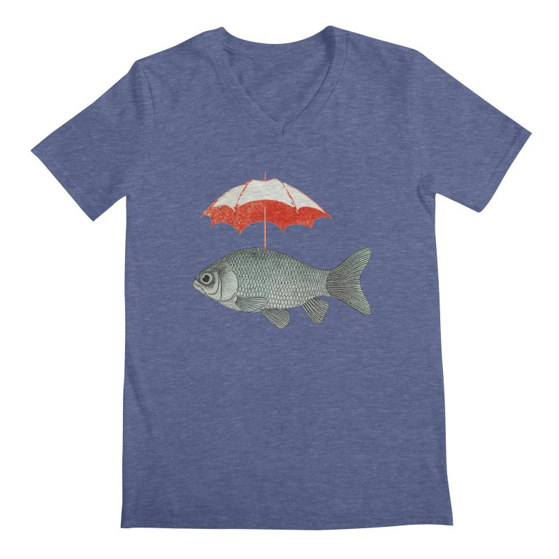 Umbrella Goldfish Men's V-Neck by Vin Zzep's Artist Shop
