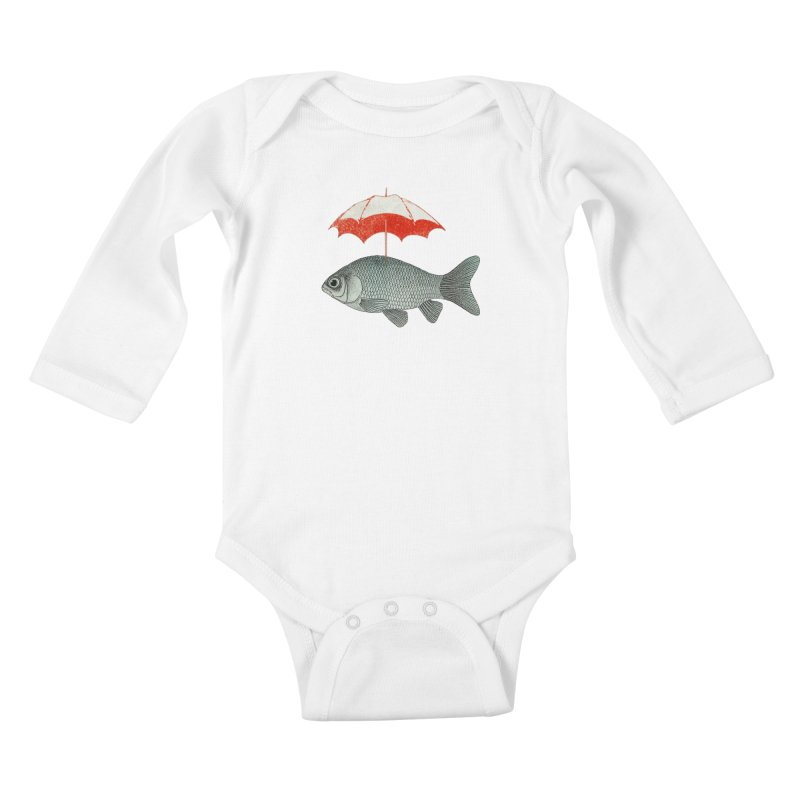 Umbrella Goldfish Kids Baby Longsleeve Bodysuit by Vin Zzep's Artist Shop