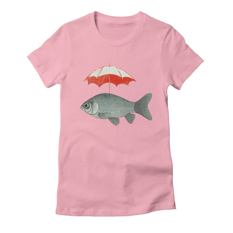 Umbrella Goldfish Women's Fitted T-Shirt by Vin Zzep's Artist Shop