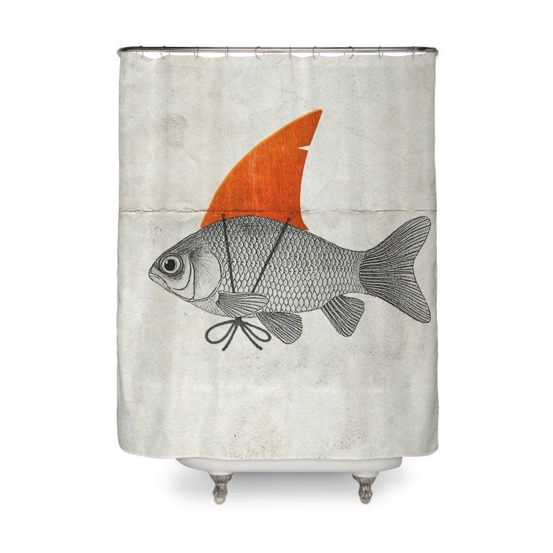 Shark Fin Goldfish Home Shower Curtain by Vin Zzep's Artist Shop