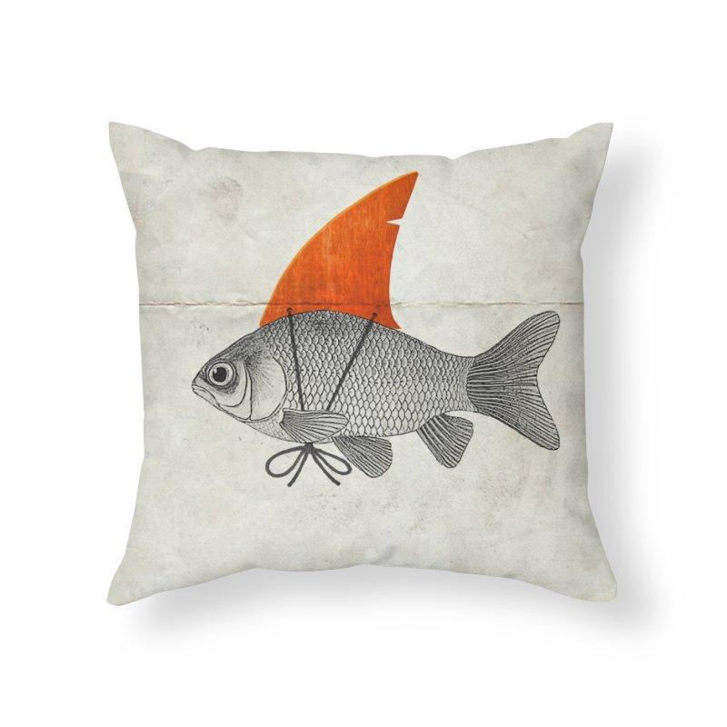 Shark Fin Goldfish Home Throw Pillow by Vin Zzep's Artist Shop