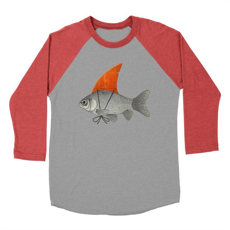 Shark Fin Goldfish Men's Baseball Triblend T-Shirt by Vin Zzep's Artist Shop