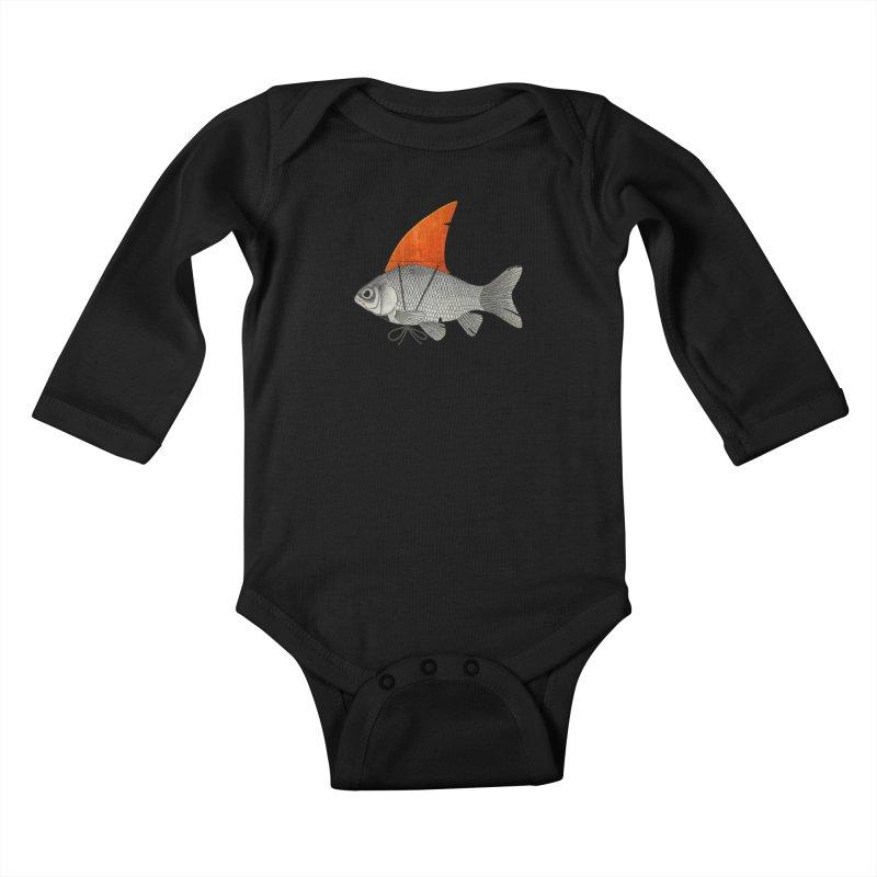 Shark Fin Goldfish Kids Baby Longsleeve Bodysuit by Vin Zzep's Artist Shop
