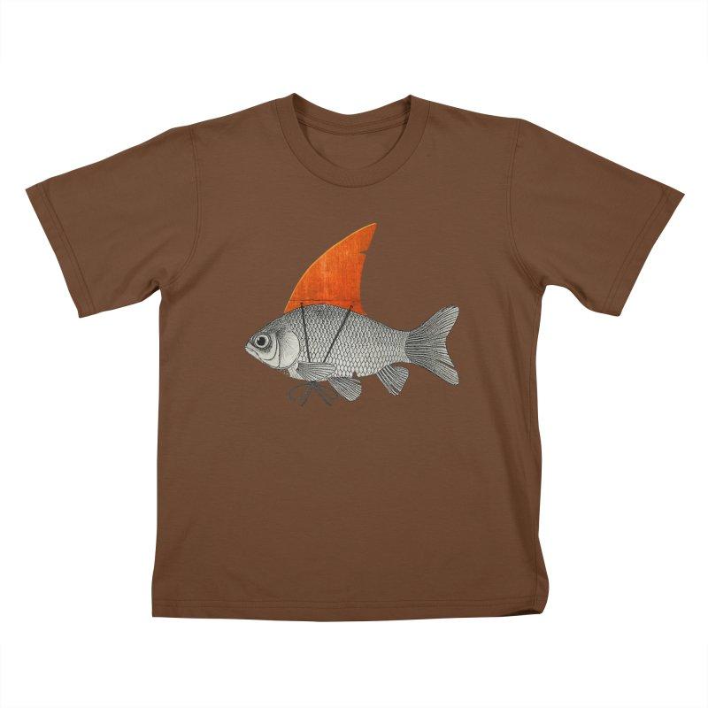 Shark Fin Goldfish Kids T-Shirt by Vin Zzep's Artist Shop