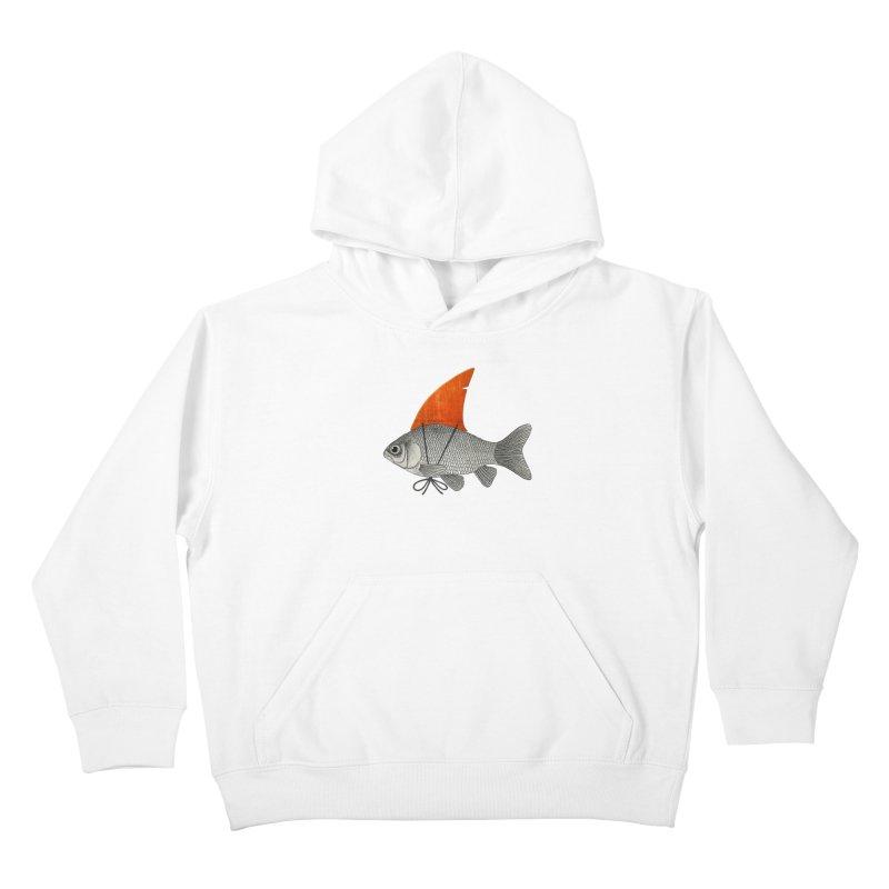 Shark Fin Goldfish Kids Pullover Hoody by Vin Zzep's Artist Shop