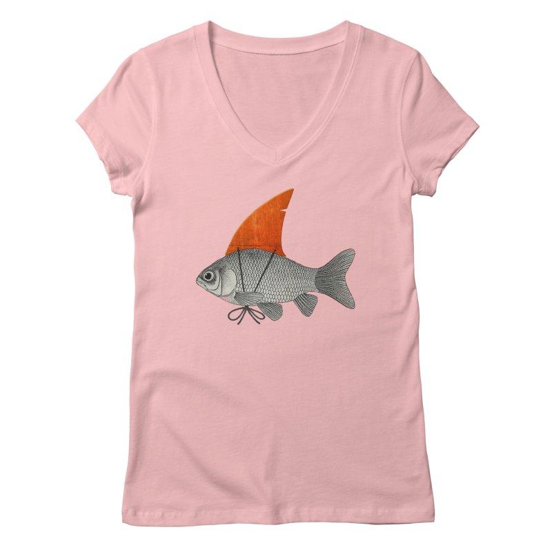 Shark Fin Goldfish Women's V-Neck by Vin Zzep's Artist Shop