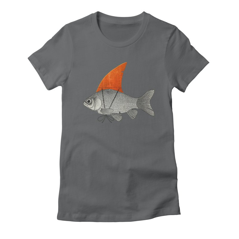 Shark Fin Goldfish Women's Fitted T-Shirt by Vin Zzep's Artist Shop