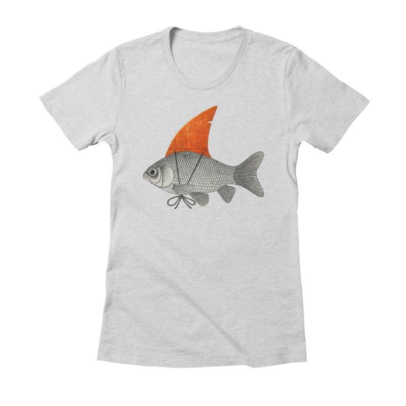 Shark Fin Goldfish Women's Fitted T-Shirt by Vin Zzep's Artist Shop
