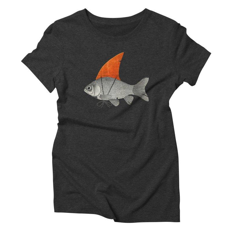 Shark Fin Goldfish Women's Triblend T-Shirt by Vin Zzep's Artist Shop
