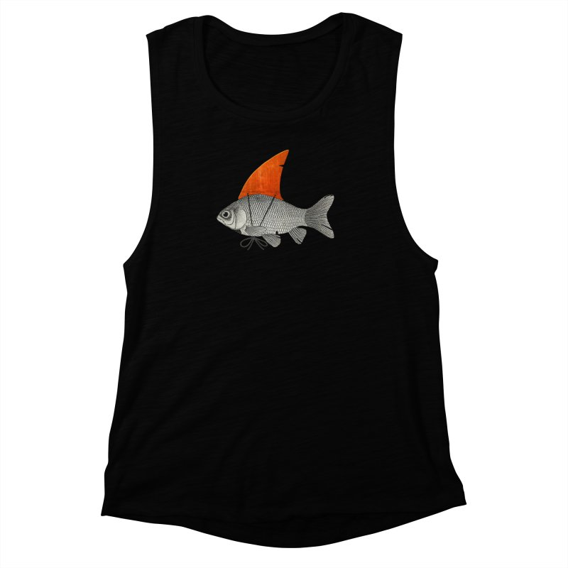 Shark Fin Goldfish Women's Muscle Tank by Vin Zzep's Artist Shop