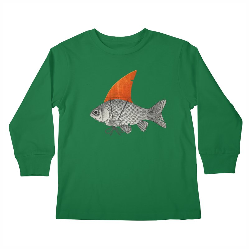 Shark Fin Goldfish Kids Longsleeve T-Shirt by Vin Zzep's Artist Shop