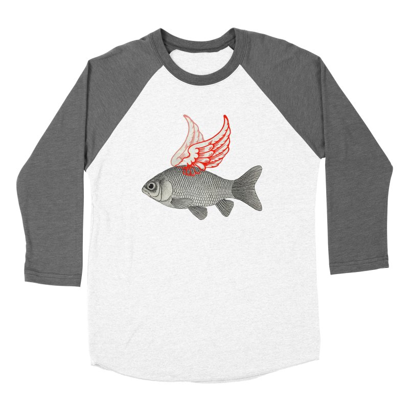 Flying Fish Men's Baseball Triblend T-Shirt by Vin Zzep's Artist Shop