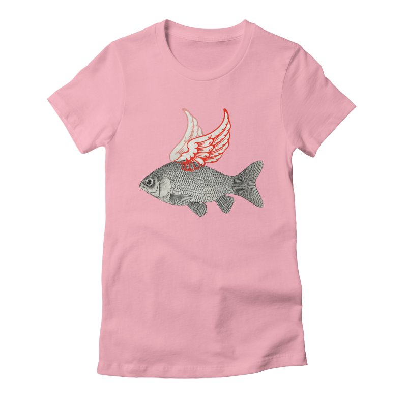Flying Fish Women's Fitted T-Shirt by Vin Zzep's Artist Shop