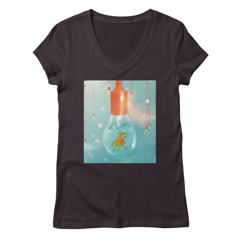 Goldfish Ideas Women's V-Neck by Vin Zzep's Artist Shop