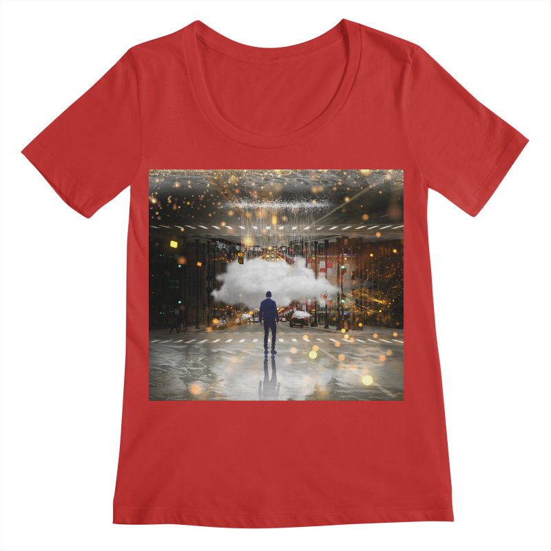 Raining on the Streets Women's Regular Scoop Neck by Vin Zzep's Artist Shop