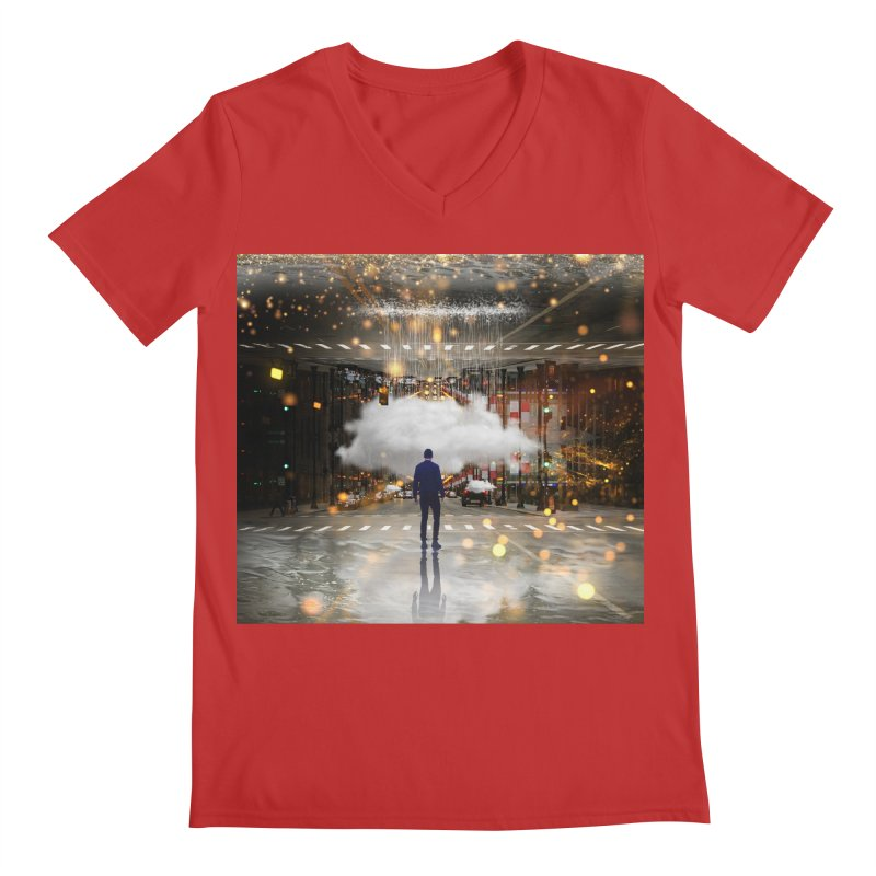 Raining on the Streets Men's Regular V-Neck by Vin Zzep's Artist Shop