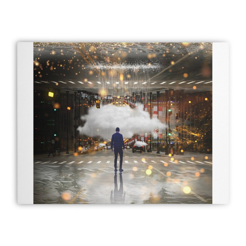 Raining on the Streets Home Stretched Canvas by Vin Zzep's Artist Shop