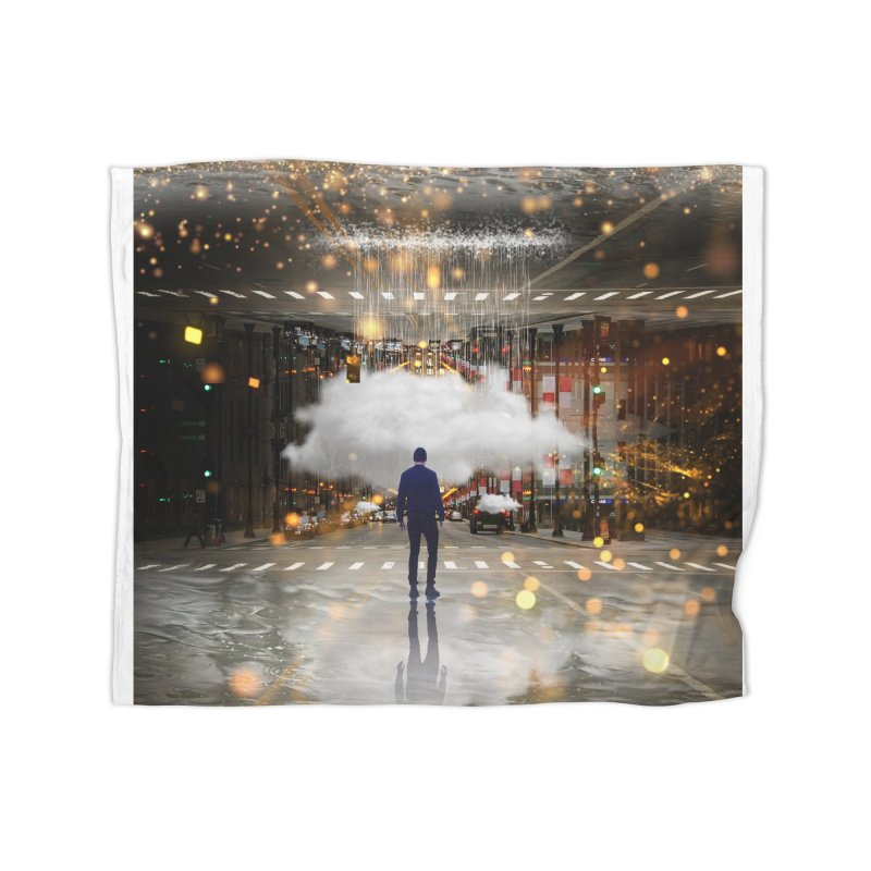 Raining on the Streets Home Fleece Blanket Blanket by Vin Zzep's Artist Shop